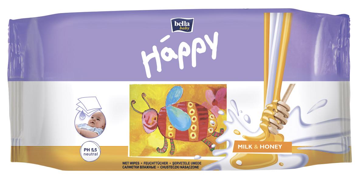 Влажные салфетки Bella baby Happy с молоком и медом 64 шт