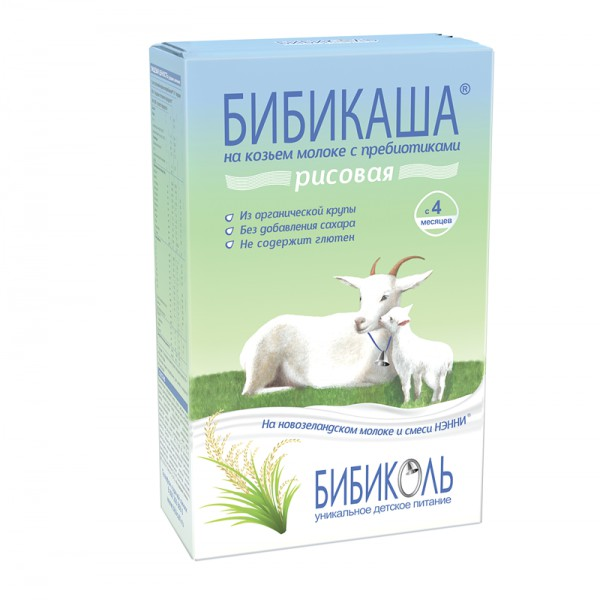 БИБИКАША каша рисовая на козьем молоке для детей  старше 4 месяцев 250 гр