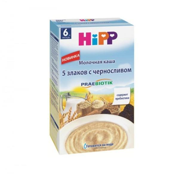 Каша HiPP молочная 5 злаков с черносливом с пребиотиками 250 гр