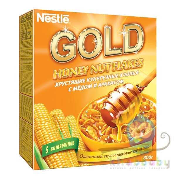 GOLD Кукурузные хлопья с медом и арахисом 300г