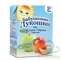 Сок Яблоко-персик с мякотью Бабушкино лукошко тетрапак 200 мл